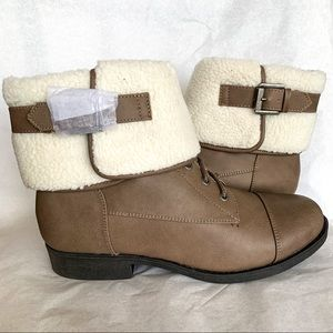 So Authentic American Taupe Faux Fur Booties